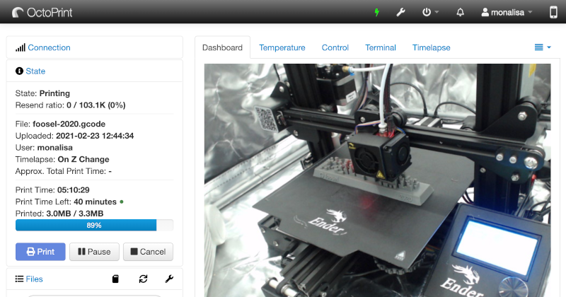 A snappy web interface for your 3D printer